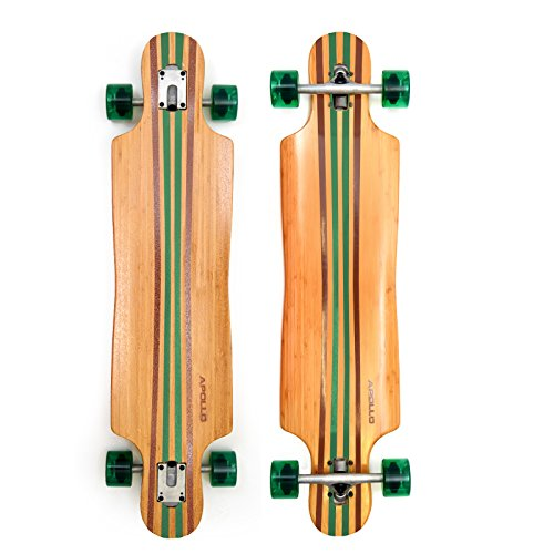 Apollo Longboard Green 2.0 Türkis Special Edition Komplettboard mit High Speed ABEC Kugellagern inkl. Skate T-Tool, Drop Through Freeride Skaten Cruiser Boards