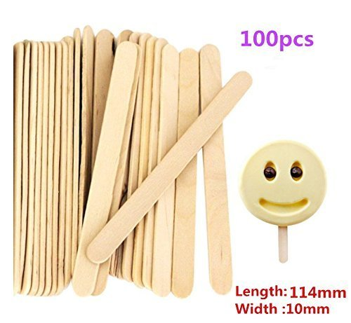 UChic 100 Stücke Handwerk Sticks Ice Cream Sticks Holz Popsicle Sticks Treat Sticks Eis Pop Sticks 114mm x 10mm - Norpro Ice Cream