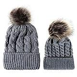 Topgrowth 2Pcs Cappello Mamma E Bambino Palla di Pelo Maglieria Cappello da  Orlo Caldo Cappelli Invernali 32fb475b23fb