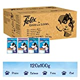 Felix As Good As It Looks Wet Cat Food for Adult Cats, Fish Selection In Jelly, 100 g x 120 Pouches