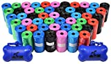 Downtown Pet Supply Dog Pet Waste Poop Bags with Two Free Leash Clips and Dispensers, 1000 Bags, Rainbow with Paw Prints