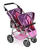 Bayer Chic 2000 689 40 - Tandem-Buggy Vario, Zwillingspuppenwagen für Puppen bis ca. 50 cm, Dots Purple Pink