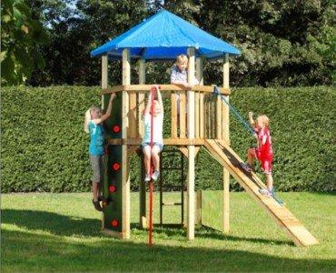 Winnetoo 6-Eck Spielturm SP1 - Kletterturm, Spielplatz, Kletterwand, Baumhaus, Klettersteg, Stelzenhaus, Kletterleiter