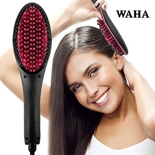 Cepillo alisador de cabello 2 en 1 de cerámica iónica, alisador rápido y desenredante digital LCD, anión para el cuidado del cabello, cepillo antiderrame