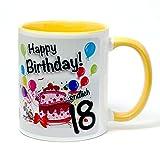 Geburtstagstasse Happy Birthday - Endlich 18 - lustiger Kaffeebecher, ein tolles Geburtstagsgeschenk zum 18. Geburtstag, originelle Geschenke kommen Immer gut an (gelb)