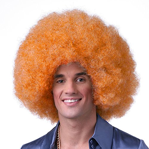 Sepia Costume Color Afro Synthetic Wig - Neon Orange
