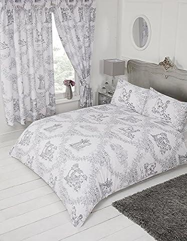 Lit king size Toile de Jouy Gris, avec 1housse de couette Parure de lit, par My Home, Damas Country Motif floral traditionnel