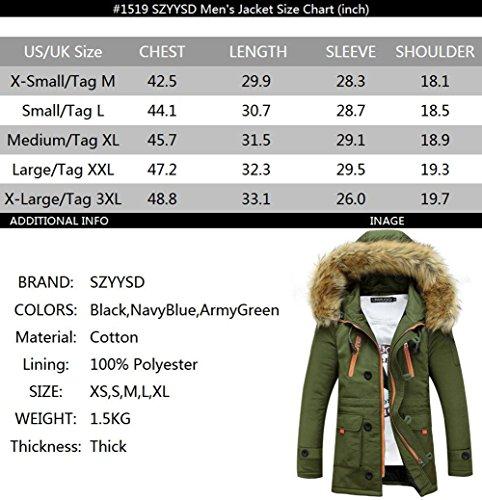 Szyysd Veste d'hiver Manteau chaud à capuche en imitation fourrure pour homme - ArmyGreen