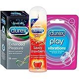 Durex Pleasure Pack (Condoms Extended Pleasure - 10 Count, Lubricating Gel - 50 ml (Strawberry), Play Vibrations Ring)