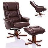 """Oriental Leather Co Ltd (Großbritannien) Leder Relaxsessel, Liegesessel """"The Shanghai"""" mit Hocker, Nussbraun"""
