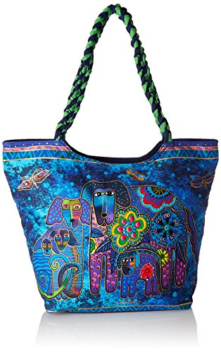 laurel-burch-laurel-burch-scoop-tote-zipper-top-19-inch-by-5-inch-by-14-inch-canine-family