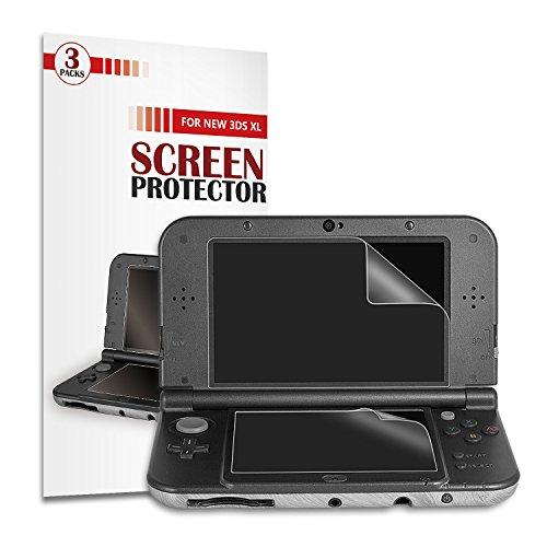 Protector de la Pantalla de New 3DS XL [3 Paquetes] - Younik Película Ultra Clara de la Pantalla de 0.125mm / 4H HD para Nintendo New 3DS XL (Anti-Scratch / Alta Respuesta / Burbuja Libre)