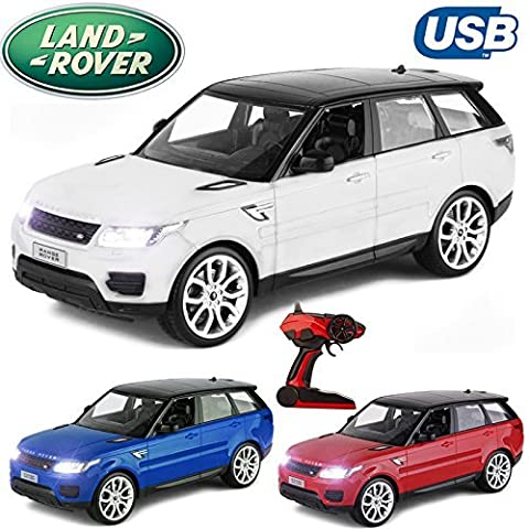 Comtechlogic® CM-2205 Official Licensed 2.4Ghz Large 1:10 Scale Range Rover Sport Radio Controlled RC USB Electric Car Ready To Run EP RTR (White)