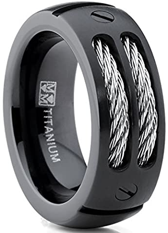 8MM Men's Black Titanium Ring Wedding Band with Stainless Steel Cables and Screw Design Size V 1/2