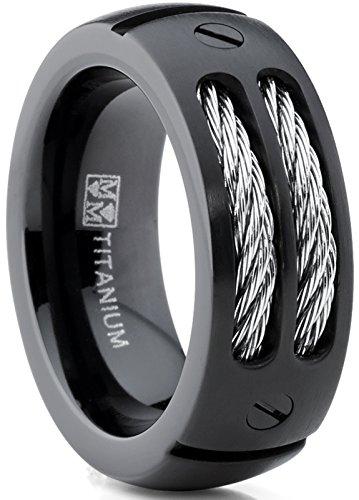 Ultimate Metals Co. 8MM Schwarz Herren Titan Ehering Mit Edelstahl Kabel Größe 70