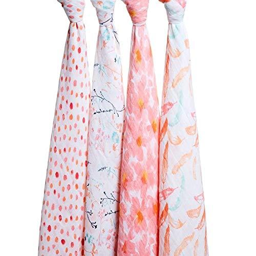 Aden + anais maxi-langes, 100% mousseline de coton, 120cm x 120cm, pack de 4, Petal Blooms