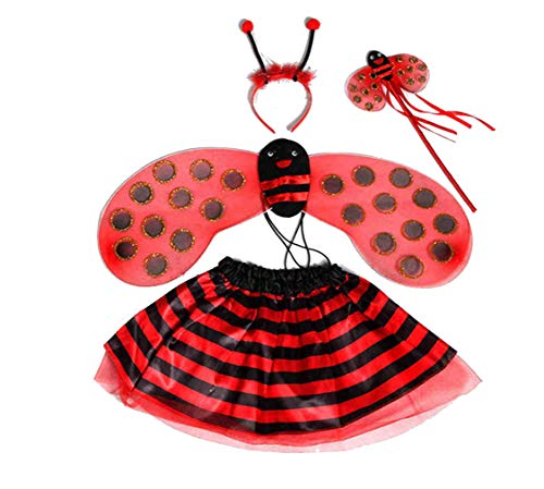 zhbotaolang 4-Teilige Mädchen Schöne Party Fancy Kleid Niedlichen Tier Halloween Kostüme Kid Rollenspiel Dress up (Rot) (Niedlichen Tier Halloween)