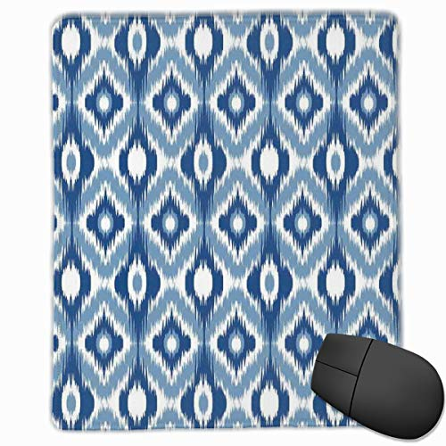 Mouse Mat Stitched Edges, Ethnic Ikat Design With Regular Multi-Shaft Loom Uneven Twill Trend Motif,Gaming Mouse Pad Non-Slip Rubber Base -