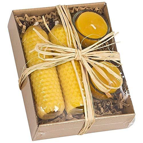 Geschenkkarton mit echten Bienenwachs-Kerzen inkl. Glasbehälter 2x Teelicht 2x große Kerze aus Bienenwachs