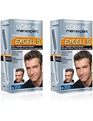 L'Oréal Men Expert Excell 5 Coloration Homme Sans Ammoniaque Châtain Profond Naturel 4 - Lot de 2