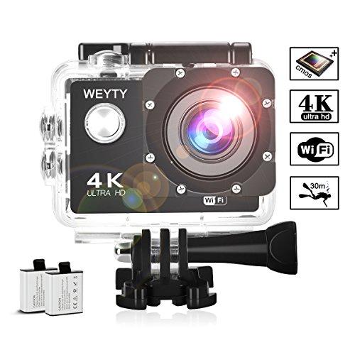 Action Kamera, Weyty Sports Kamera 4K Ultra HD Unterwasserkamera 16MP 170° Weitwinkel WiFi Fernbedienung Action cam mit 2 wiederaufladbare batterien (1350mAh) und kostenlose Accessoires (C2)