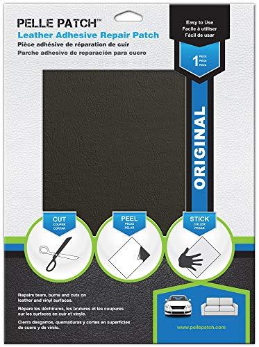 Pelle Patch - Pièce adhésive de réparation de cuir et vinyle - 25 couleurs disponibles - Original 28cm x 41cm - Gris Foncé