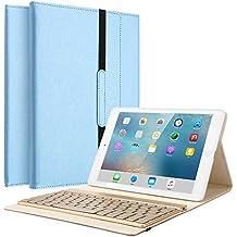 Funda para iPad 2 iPad 3 iPad 4, KVAGO Ultra Slim PU Funda de cuero folio funda de teclado desmontable Bluetooth / Funda con 7 colores de luz de fondo, Auto Sleep / Wake y correa para el iPad 2/3/4 de Apple azul
