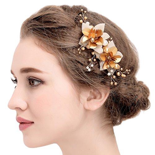 Vintage Hairgrip Gold Braut Tüll Blume Pailletten Perlen Hochzeit Haarschmuck