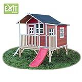 EXIT Loft 350 rotbraun / Spielhäuschen auf Stelzen mit Veranda+Rutsche / Material: Zedernholz / Maße: 170 cm x 171 cm x 225 cm / 146 kg / 3+