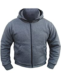 Bikers Gear The CrossFire Grey Full Kevlar Motorcycle Hoodie CE Protection Fleece 2XL