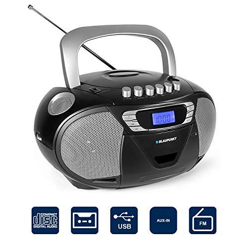 Blaupunkt B 110 BK tragbares Radio mit CD Spieler Kinder, Kassettenrekorder, Hörbuch Funktion, CD-Player mit USB, CD Kassetten Player, Aux In, Kopfhöreranschluss, PLL UKW Tuner, schwarz