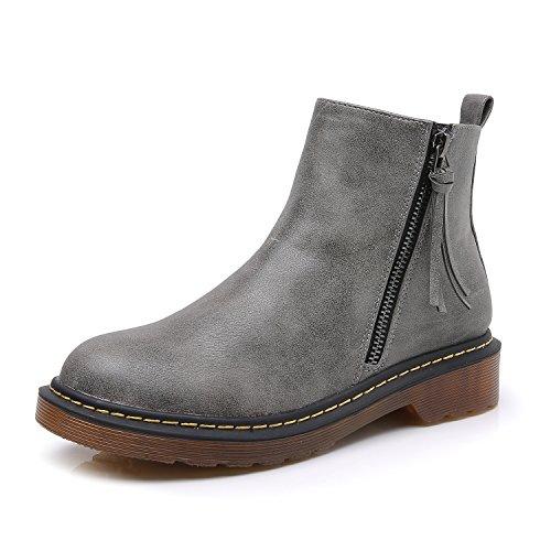 schaft Stiefel Damen Militärstiefel Kampfstiefel Winterstiefel Damen Winter Stiefel Grau Herstellergröße 36, EU36 (Besten Kinder Kostüme 2017)