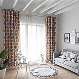 Bloomma - Cortinas drapeadas, trasparencia del 70%, panel de poliéster estampado, para salón, dormitorio, etc. (100cm x 280cm)