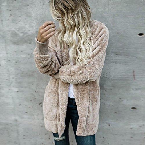 BBring Damen Mode Outwear, 2017 Fall/ Winter Faux Pelz Kapuzen Lange Jacke Kapuzenpullis Parka Strickjacke Mantel (XL, Khaki) - 2