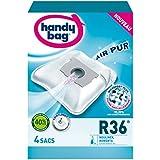 Handy Bag 4 Sacs Aspirateurs, Pour Aspirateurs Moulinex et Rowenta, Fermeture Hermétique, Filtre Anti-Allergène, Filtre Moteur, R36