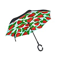 JSTEL Double Layer Inverted Strawberry Leaf Umbrella Cars Reverse Windproof Rain Umbrella for Car Outdoor With C Shaped Handle