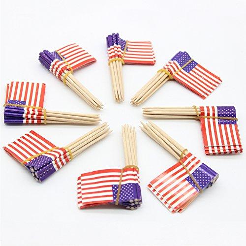 100Stück American Flag Picks, Lebensmittel Fruit Mini Zahnstocher Cocktail Party Geburtstag Hochzeit Cupcake Decor Zahnstocher Unabhängige Tag Dekoration