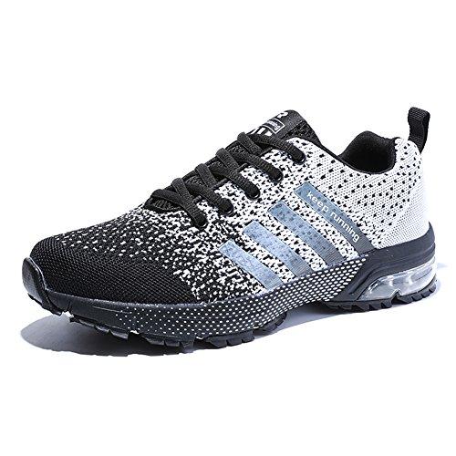 Damen Herren Laufschuhe Sportschuhe Turnschuhe Trainers Running Fitness Atmungsaktiv Sneakers(Weiß Schwarz,Größe42)