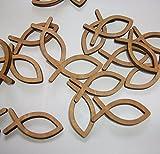 Tischstreu Tischdeko aus Holz, Fische oder Kreuze zur Auswahl; Konfirmation, Kommunion, Taufe (Fische, Dunkles Holz)