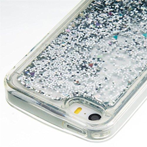 A9H iPhone SE 5 5s Hülle Schutzhülle iPhone SE 5 5s Hülle Transparent Hardcase Kreative Liquid Bling Hülle Case Für iPhone SE 5 5s Dynamisch Treibsand Flüssige Fließend Wasser Glitter Glitzer Glanz Sp 05HUA