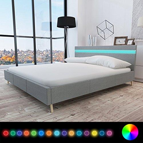 Anself Doppelbett Bett Ehebett Gästebett mit LED-Licht 180x200cm ohne Matratze Stoffbezug Hellgrau