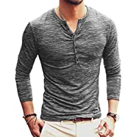 AITFINEISM Mens Casual Slim Fit Basic Henley Long Sleeve T-Shirt (Medium, Grey)