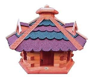 XXL Vogelhäuser aus Holz :-) großes Vogelfutterhaus , mit ROT dunkelrot BLAU blaugrauEM DACH /,auch mit Ständer (als Zubehör erhältlich),- Bitumenschindeln, Vogelhaus, Futterhaus , mit 3 x dekorative Dachgauben und Futterschacht / Silo