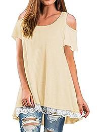 Camisetas Mujer,❤Venmo Tops Mujer,Camisas Mujer,Blusas de Mujer,Camiseta con Hombros Descubiertos de Damas,Casual Tops de Manga Corta de…