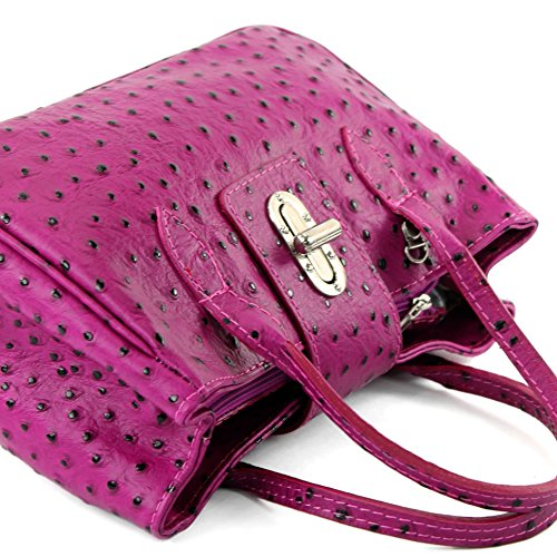 modamoda de - ital. Ledertasche Damentasche Handtasche kleine Tragetasche Leder Klein TL03 Strauß Beere