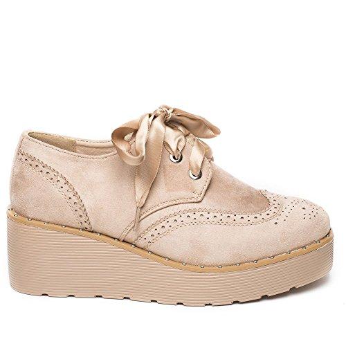 Ideal Shoes Richelieu à Plateforme Effet Daim et Lacets Satinés Tamiana Beige