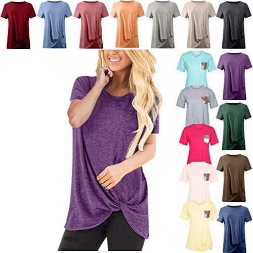 Casuals Long Sleeve Tee (Dorical Tshirt Oberteile für Damen Frauen Kurzarm Rundhal Lose Shirt,Oversize Oberteile,Casual Tops Tee,Ladies Sommer Hemd Lässige Tunika Bluse Shirt,Strand Partykleid)
