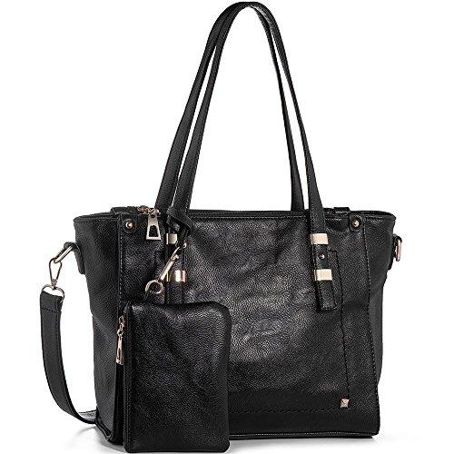In Angel Damen Taschen Handtaschen Umhängetaschen Damen Henkeltaschen Schultertasche Large Tote PU Leder Handtaschen Geldbeutel (L30cm * W12cm * H26cm) Schwarz