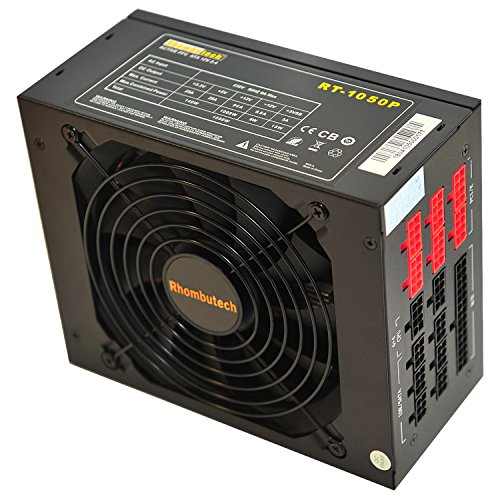 Rhombutech 1050 Watt ATX PC-Netzteil/Super Gaming-Netzteil/Effizient bis zu 87% / Voll-modulares Kabelmanagement/Aktiv PFC/Super Silent / 140mm kugelgelagerter Lüfter (Computer-netzteil 1000w)