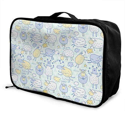 Qurbet Reisetaschen,Reisetasche, Portable Luggage Duffel Bag Funny Sheep Travel Bags Carry-on in Trolley Handle -